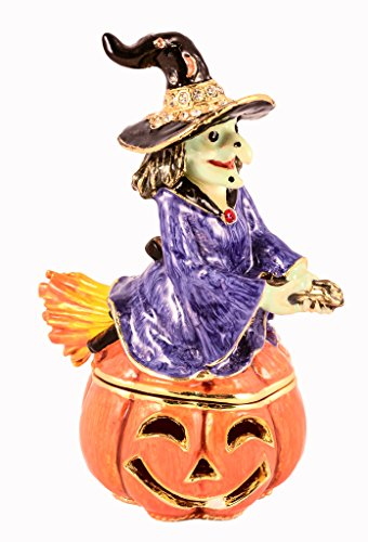 Ciel Collectables Halloween Witch & Pumpkin Trinket Box, Swarovski Crystal, Hand Painted Purple, Orange & Black Enamel Over Pewter, Inside of Box with Lovely Enamel, L 2.75 X H 3.50 X W 2.00]()