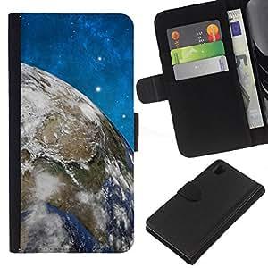 All Phone Most Case / Oferta Especial Cáscara Funda de cuero Monedero Cubierta de proteccion Caso / Wallet Case for Sony Xperia Z1 L39 // Space Stars Blue Sky Earth Universe Planet