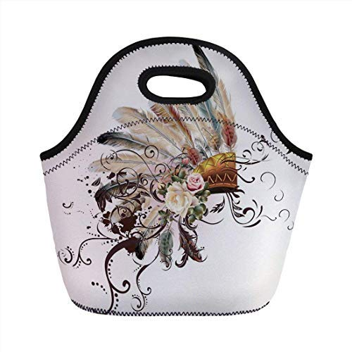 Portable Neoprene Lunch Bag, Feather, Native American Symbol with Floral Arrangements Head Wear Flowers Swirls Shapes Decorative, Multicolor, for Kids Adult Thermal Insulated Tote Bags
