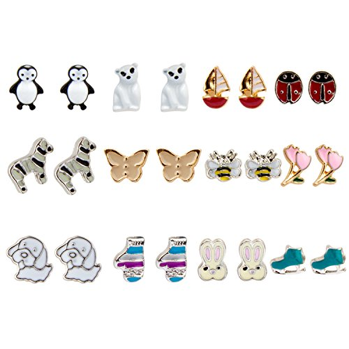 YISSION 12 Pairs Stud Earrings Set Cute Animal Flower Style Design with Mixed Color