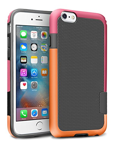 iPhone 6S Case, TILL(TM) [Ultra Hybrid] iPhone 6 / 6S (4.7 Inch) Case Hybrid Best Impact TPU Shockproof Rugged Matte Shell Exact-Fit Dual Protection Silm Back Strips Anti-slip Cover Case [Orange/Ross]