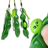 iMagitek 3 Pcs Fidget Toy Set, Squeeze-a-Bean Soybean Stress Relieving Playful Charms Extrusion Edamame Pea Keychain for Mobile Phones and Keys - Green