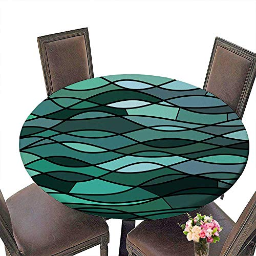 PINAFORE Round Tablecloths Abstract Stained Glass Mosaic Teal Waves Dinner, Parties 50