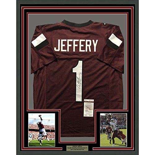 Framed Autographed/Signed Alshon Jeffery 33x42 South Carolina Gamecocks Maroon Football Jersey JSA COA (South Replica Carolina Jersey Football Gamecocks)
