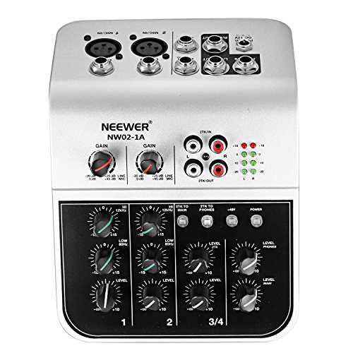 (Neewer Mixing Console Compact Audio Sound 4-Channel Mixer for Condenser Microphone, with 48V Phantom Power 2 Band EQ 2-way Stereo Line Input RCA Input/Output 4 Band LED Level Indicator (NW02-1A))