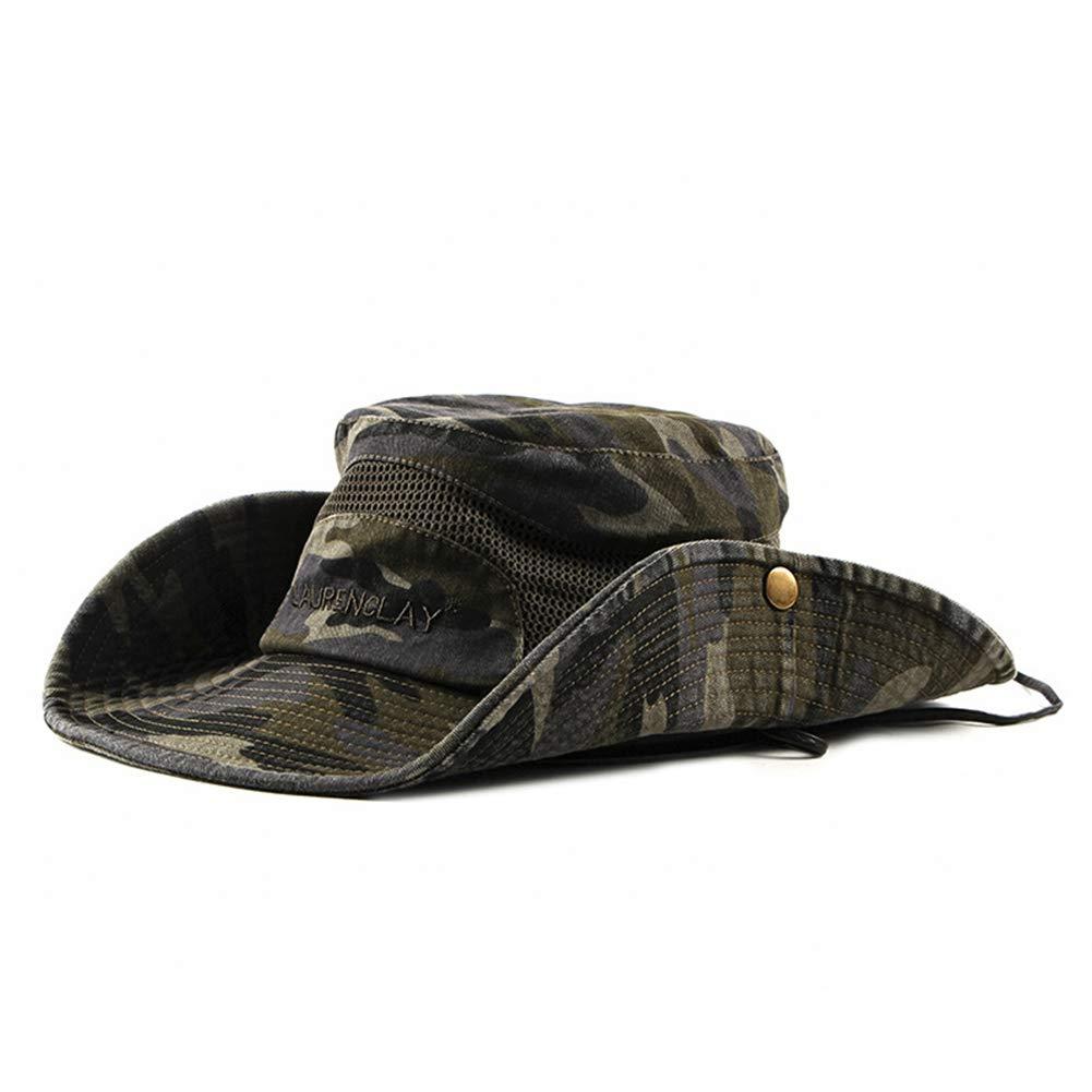 5b438ebee5 Leisial Sombrero Estampado De Camuflaje del Ejército de ala Ancha Borde  Redondo Anti-UV Algodón
