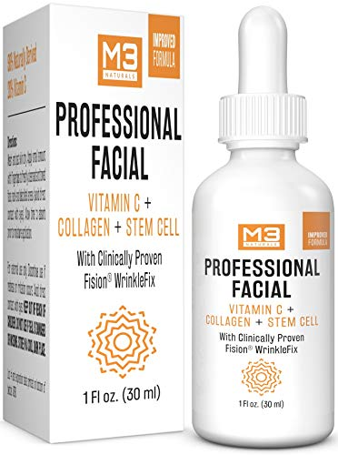 M3 Naturals Professional Facial Infused with Clinically Proven Fision Wrinkle Fix, Collagen, Stem Cell, and Vitamin C to Help Lift and Firm Face Under Eye Dark Circles Anti Aging Serum 1 fl oz.