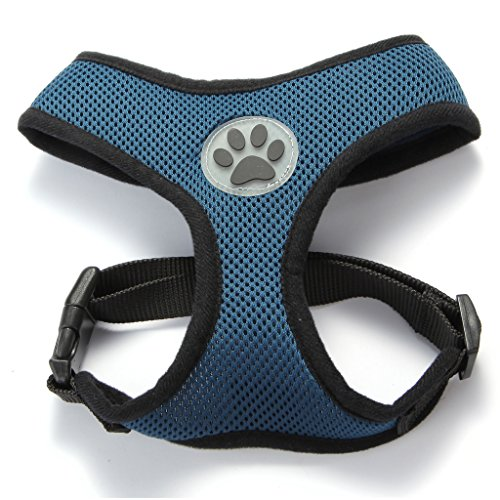 (BINGPET BB5001 Soft Mesh Dog Harness Pet Walking Vest Puppy Padded Harnesses Adjustable, Navy Blue)