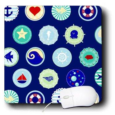 3dRose 8 X 8 X 0.25 Sea Blue Nautical Decor Pattern Sailor Ocean Theme With Boat Fish Anchors And Aquatic Marine Life Mouse Pad (mp_112983_1)