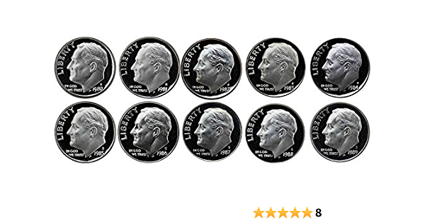1980-1989 S Proof Roosevelt Dime 10 Coins