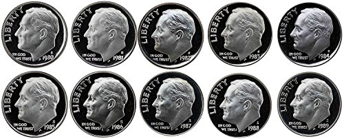 (1980 S Roosevelt Dimes Gem Proof Run 10 Coins US Mint Decade Lot Complete 1980's Set Proof)