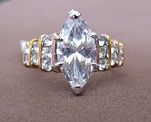 Ladies FASHION RING Size 7: 18KGE Gold Plated Band w Marquise Shape Cubic Zirconia Center Stone & 14 Round Cubic Stones
