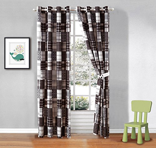 2 Piece Plaid Black, White and Grey Window Curtain Set (Matches Our Soccer (Football) Sports Theme Bedding)