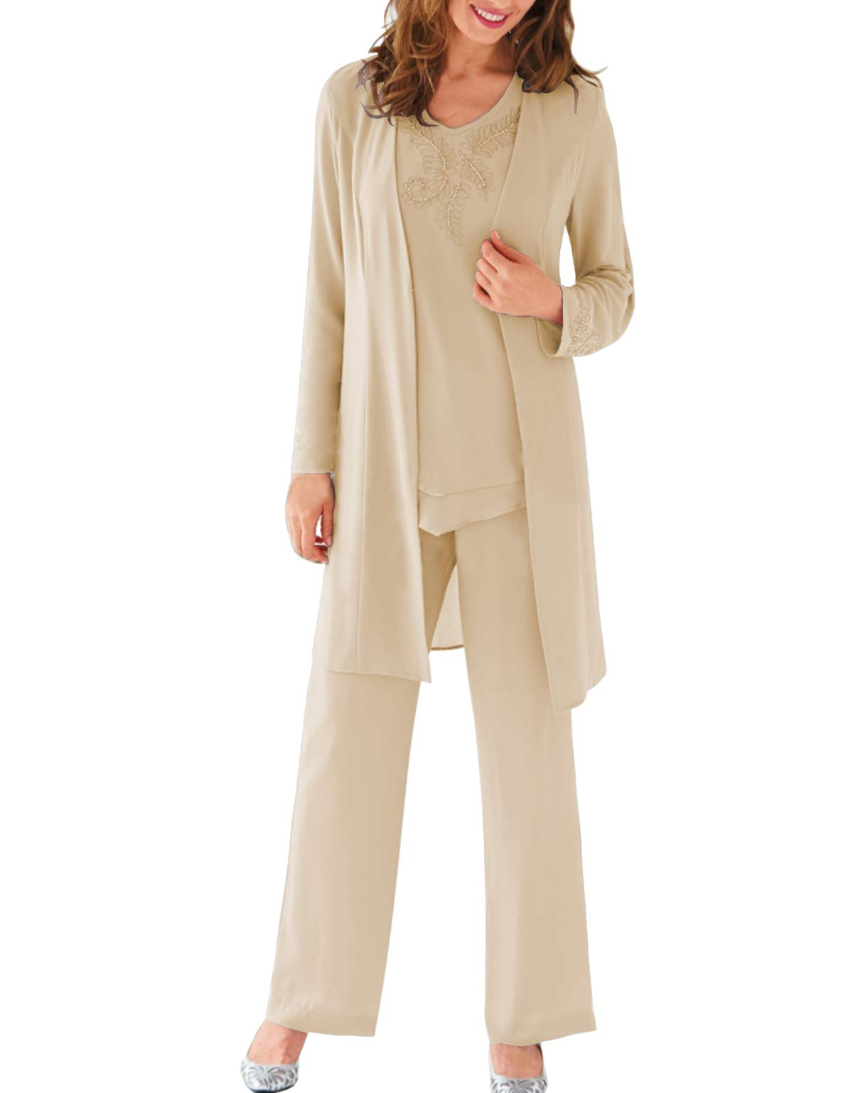 Womens 3 Pieces Formal Mother of Bride Dress Pant Suits with Jacket with Beaded Chiffon Outfits