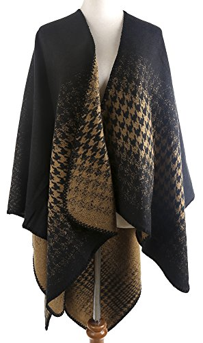 (QZUnique Women's Blanket Winter Houndstooth Knitted Cardigans Scarf Shawl Poncho Cape Black Gold)