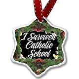 Christmas Ornament Floral Border I Survived Catholic School - Neonblond