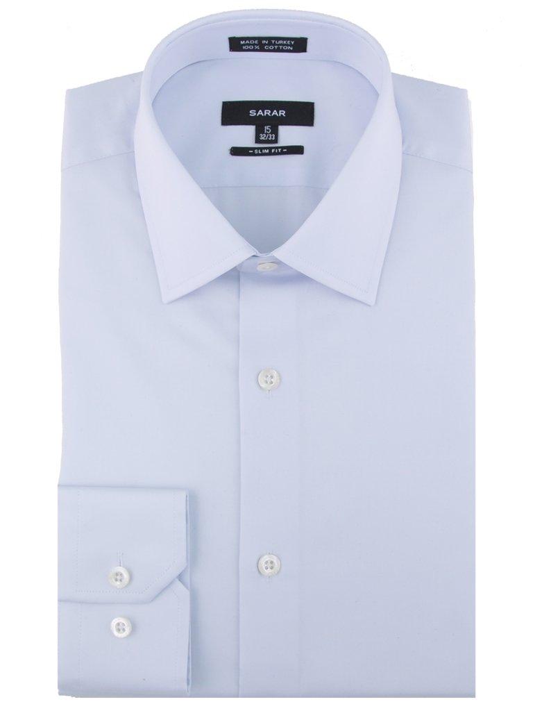 SARAR Men's 3 Pack Slim Fit Dress Shirt Point Collar Pocket Free Cotton Solid Barrel Cuff Blue Business Men by SARAR (Image #2)