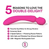 Double-Delight-Wand-Massager-Dual-Opposing-Tips-with-3-Speeds-7-Powerful-Patterns-Per-Setting-Super-Pink
