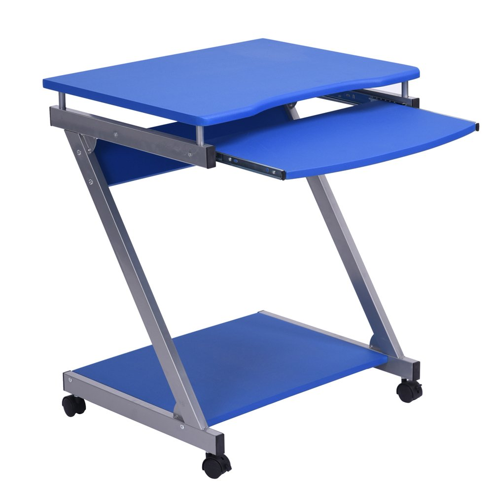 Fanilife Rolling Desk Writing Table Keyboard Drawer Shelf Blue