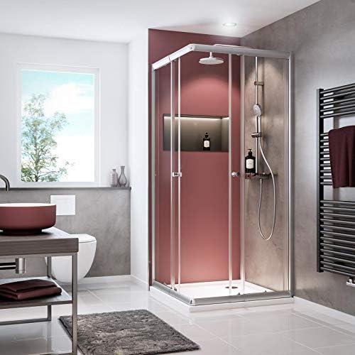 Schulte 4060991057809 - Mampara de ducha con puertas correderas, cristal transparente, perfil plateado, 80 x 80 cm, 90 x 90 cm: Amazon.es: Bricolaje y herramientas