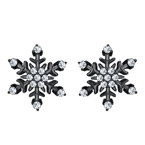 Womens Fashion Beautiful White CZ Diamond Snowflake Earrings 14K Black Gold Over .925 Sterling Silver