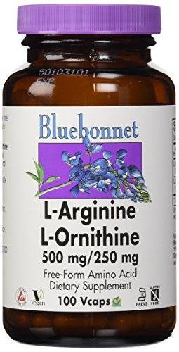 L-ornithine 100 Capsules (Bluebonnet L-Ornithine 500 mg/250 mg Vitamin Capsules, 100 Count)