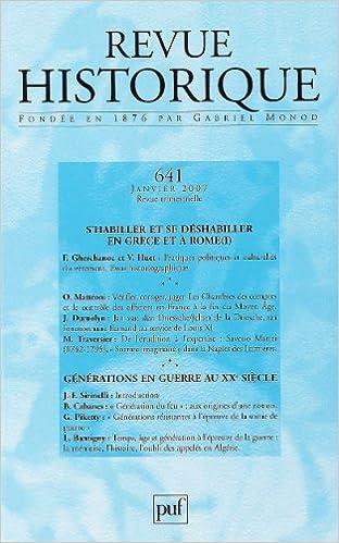 Lire Revue historique, 641, 2007/1. Générations en guerre au XXe siècle pdf, epub ebook