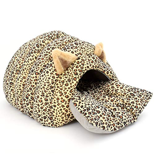Luckitty Cat Bed House Cave with Cushion Large,Self Warming Cat Cubby Enclosed for Cats Kittens Small Dogs Puppy Rabbit and Small Animals Pets Leopard Print (Cat Leopard Bed)