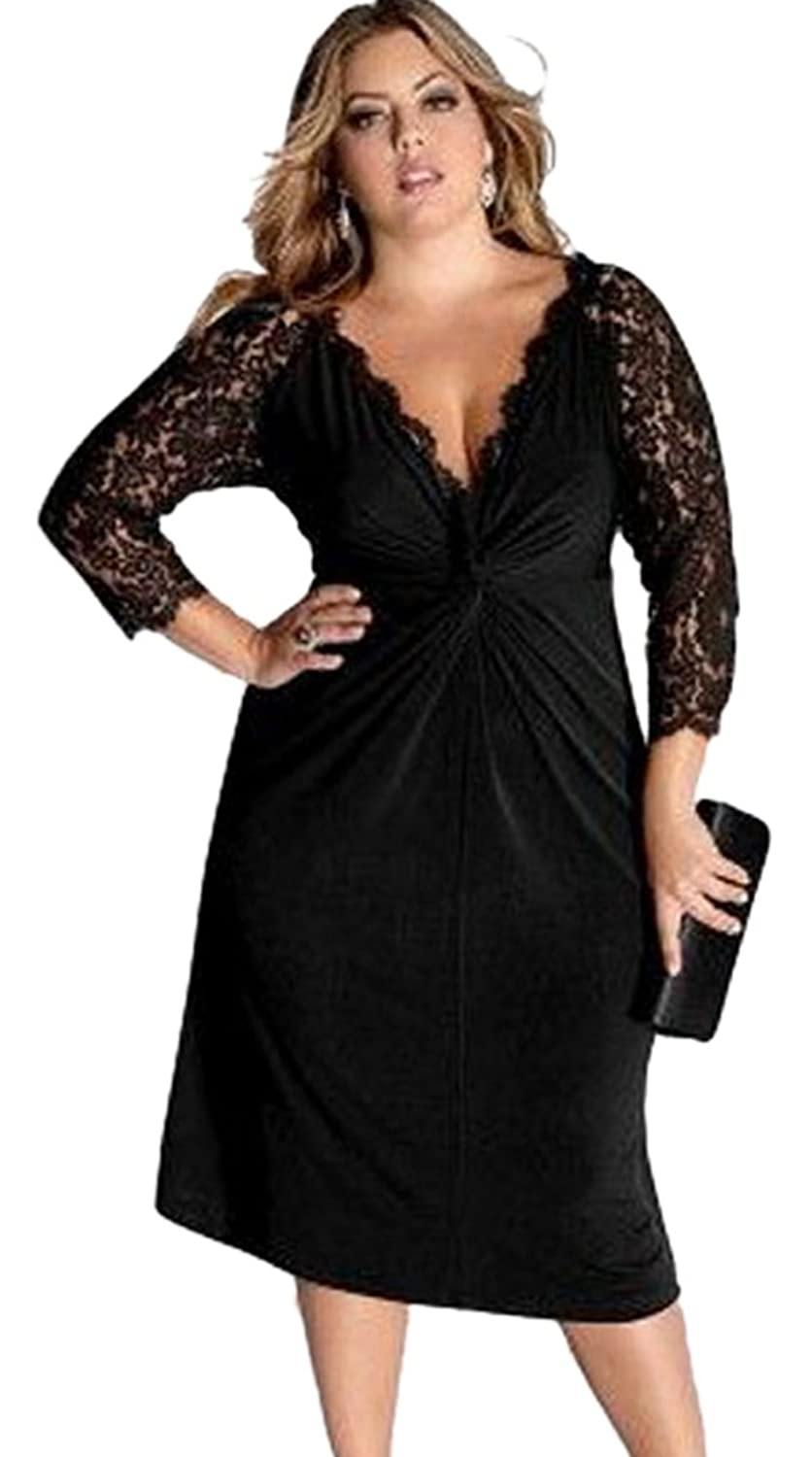 Bestime Plus Size Cocktail Dress with Lace Sleeves