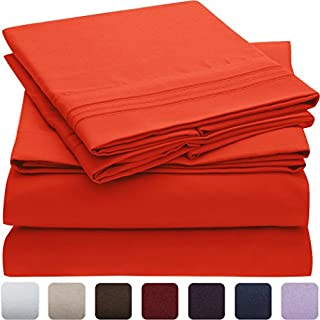 Mellanni Bed Sheet Set - Brushed Microfiber 1800 Bedding - Wrinkle, Fade, Stain Resistant, Deep Pocket - Hypoallergenic - 4 Piece (Cal King, Red) (B07BKPP77R) | Amazon price tracker / tracking, Amazon price history charts, Amazon price watches, Amazon price drop alerts