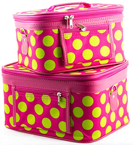Uni Collections 2-Piece Make up Case Set (Polka Dots Pink & Green) ()