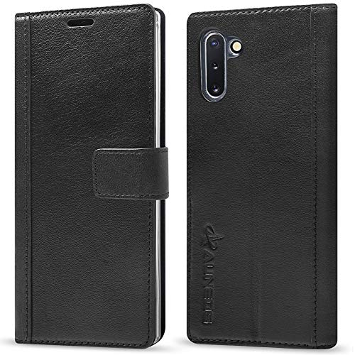 Galaxy Note 10 Wallet Case [Genuine Leather] AUNEOS Leather Case for Samsung Galaxy Note 10 (6.3'') [Card Slot] [Stand] [Magnetic Closure] Note 10 Leather Folio Flip Case (Note10(6.3''), Black) ()