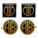 Kooer Handmade Custom Monogram Cufflinks For Gatsby Style Customize Personalized Wedding Cuff Links