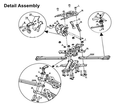 211mm FPV Frame Racing Quadcopter Kit Carbon Fiber Forerake X Arm Frame Kit by Crazepony (Forerake Frame Kit) by Crazepony (Image #6)