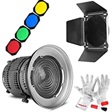 Aputure Fresnel Lens Mount with Barn Door Honeycomb Grid and 4 Color Filters for Aputure COB 300D 120D 120T Light Storm LS C300D