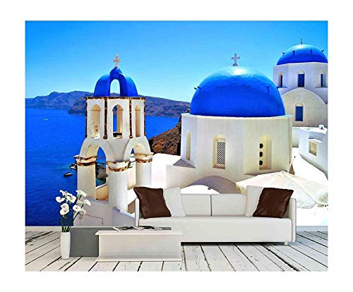 wall26 - Beautiful Blue Dome Churches of Santorini, Greece - Removable Wall Mural | Self-Adhesive Large Wallpaper - 66x96 inches