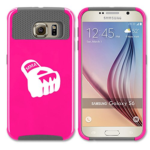 For Samsung Galaxy (S6 Edge) Shockproof Impact Hard Soft Case Cover MMA Boxing Glove (Hot Pink-Gray)