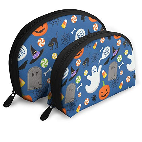 Happy Halloween Funny Pattern Cosmetic Bag - 2 Piece Set Makeup Travel Pencil Pen Case Storage Portable -