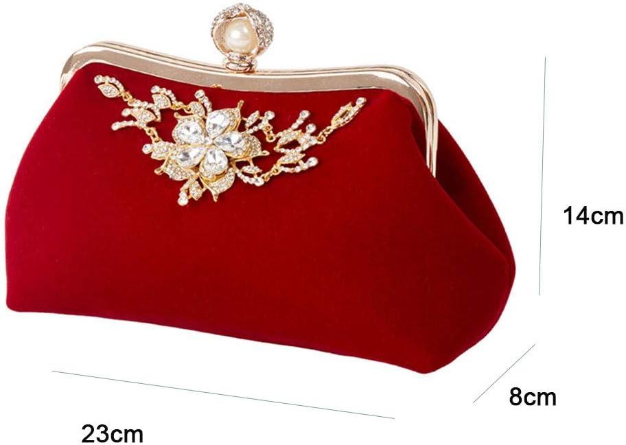 Borsa da Donna - Borsa da Pranzo con Diamanti - Borsa da Sposa con Catena A Forma di Cheongsam,Purple Black
