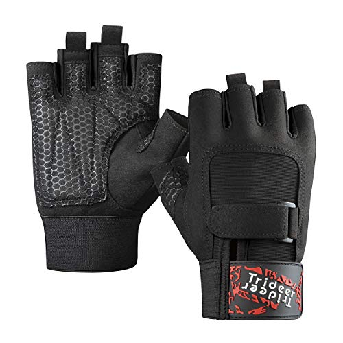 Trideer Padded Weight Lifting Gloves, Gym Gloves, Workout Gloves, Rowing Gloves, Exercise Gloves for Powerlifting, Fitness, Cross Training for Men & Women (A# Black Basic, L (Fits 7.9-8.6 Inches)) (Best Exercises For Men)