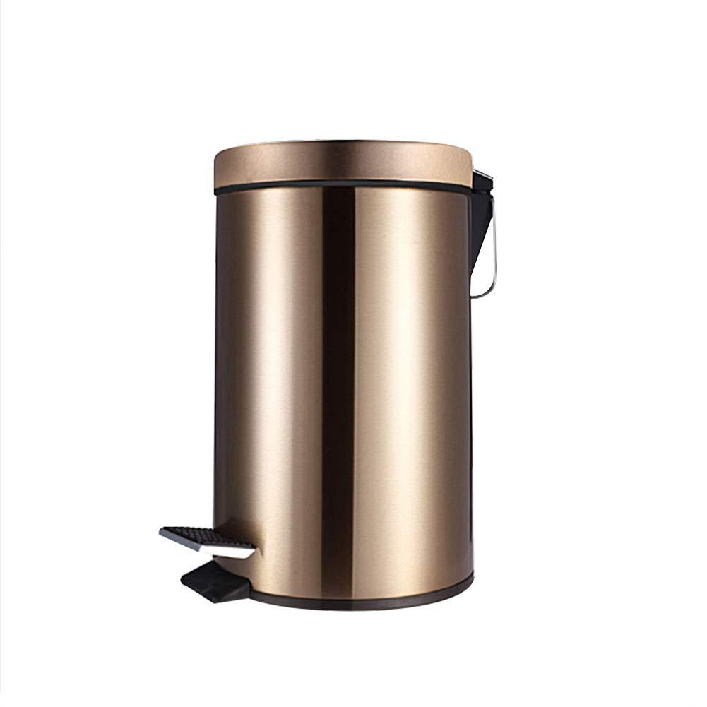 Camera da Letto Cucina Gold Cestino per la Spazzatura in Acciaio Inox Rotondo per Bagno Alextry