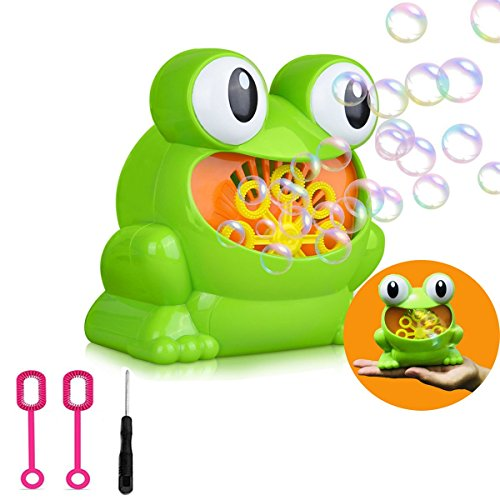 Automatic Bubble Machine, Green Frog Christmas Toys for Kids Durable Bubble Over 500 Bubbles Per Minute, Use Bubble Blowing Machine for Garden, Parties and Wedding, Battery Operated (Not Include) by CUTEFA