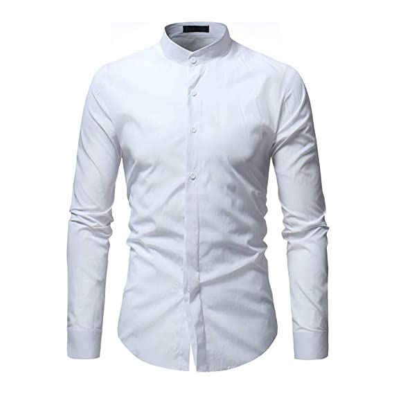 Stil Homme Chemise Casual Manches Longues Col Mao Slim Fit Repassage Facile- Blanche 3744ef5edeb