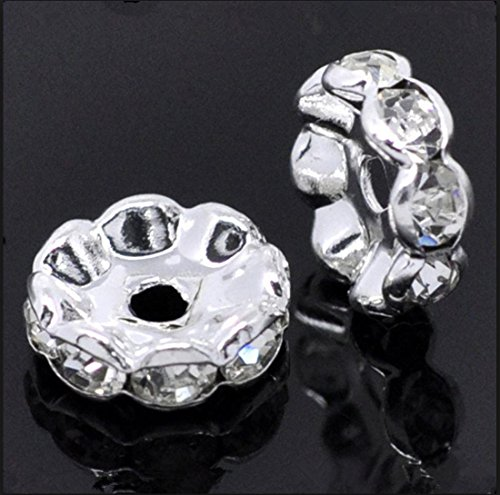 100pcs 8mm Top Quality A Flower Rhinestone Rondelle Spacer Beads Austrian Crystal Sterling Silver Plated Brass Round Metal Beads CF6-801