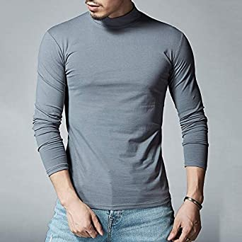 Unbalance Turtle Shirring Pocket Long Sleeve T Shirt Mens Fashion Clothing for an Attractive Guy Look Mens Tops Tees