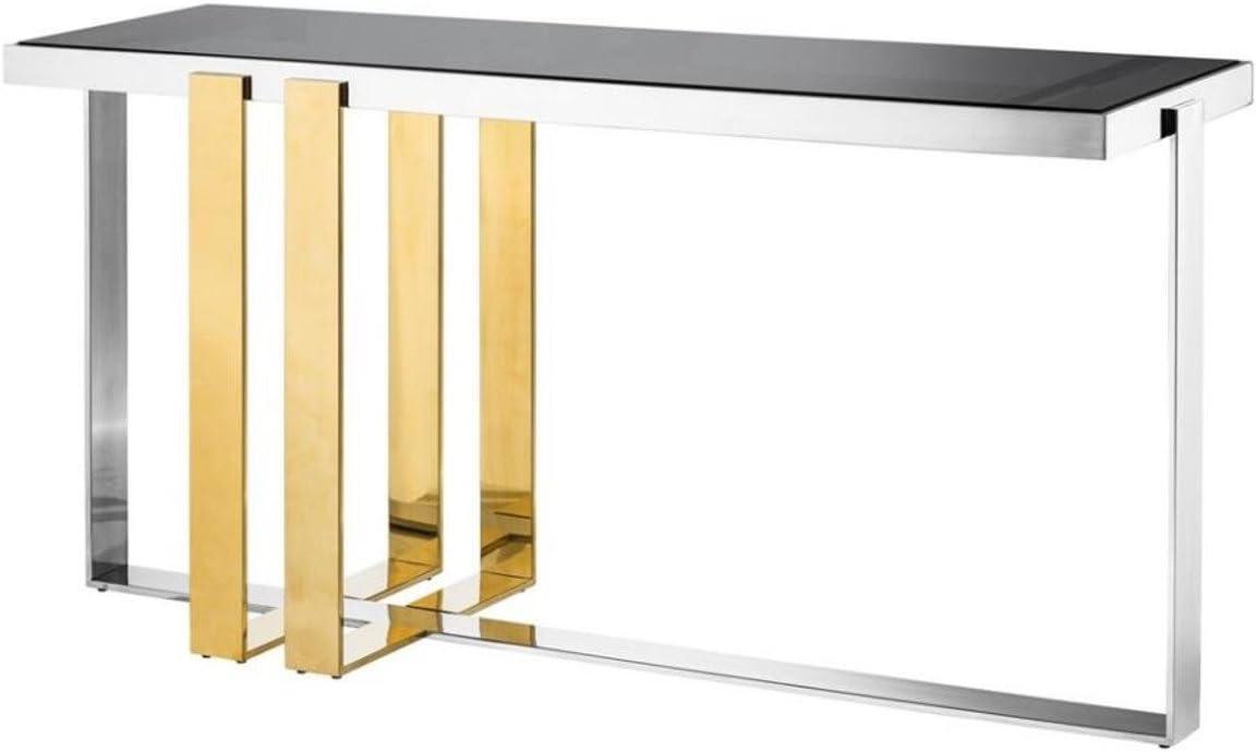 Casa Padrino Consola de Acero Inoxidable diseñador Cristal Ahumado - Mesa de Consolas: Amazon.es: Hogar