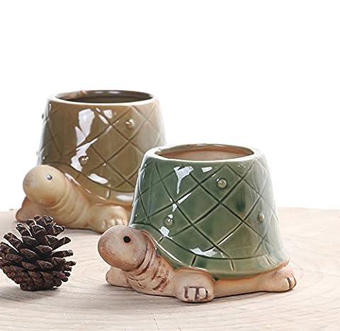 YOURNELO Crude Pottery Cute Animal Plant Flower Pot Succulent Planters Vase (Tortoise) - Ceramic Tortoise Vases
