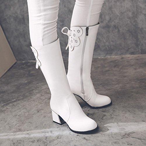 Charm Foot Womens Fashion Zipper Bows Chunky High Heel Mid Calf Boots White 0LaBjhcFR