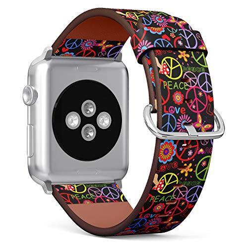 (Hippie Style Peace Sign on Floral Pattern) Patterned Leather Wristband Strap for Apple Watch Series 4/3/2/1 gen,Replacement for iWatch 42mm / 44mm Bands