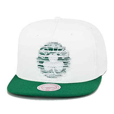 cccd55aff91 Image Unavailable. Image not available for. Color  Mitchell   Ness Boston  Celtics Snapback Hat Cap White Green Distressed Logo